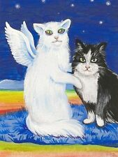 1.5x2 DOLLHOUSE MINIATURE PRINT OF PAINTING RYTA 1:12 SCALE TUXEDO CAT ANGEL