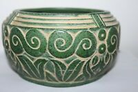 Claire Burke Pottery 90's green swirl planter bowl vase no chips Made in Ireland