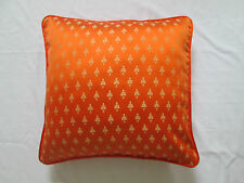 """Asian Oriental Ethnic Indian Faux Silk Floral Cushion Cover Orange & Gold 18"""""""