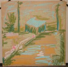 """Dessin Original Gouache André FILDIER (1928-2001)  """"Paysage"""" - F29"""