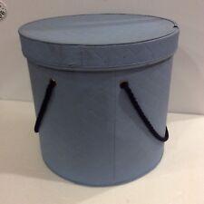 Vintage Light Blue Vinyl Hat Wig Round Box Rope Handles