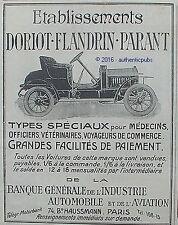 PUBLICITE DORIOT FLANDRIN PARANT AUTOMOBILE POUR MEDECIN DE 1910 FRENCH AD PUB