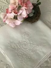 Delicate ANTIQUE MADEIRA Embroidered MONOGRAM G Wedding BRIDAL HANKY