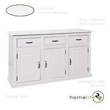 Buffet commode bahut vaisselier bas haut rangement 3 tiroirs/3 portes blanc b...