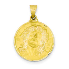 14K Yellow Gold Jesus Christ Head Medal Charm Pendant MSRP $485