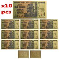 10× $100 One Hundred Trillion Dollar Zimbabwe Gold Banknote Set w/ Rock COA Xmas