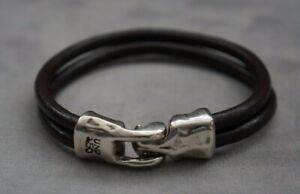 """NEW Uno De 50 UNISEX Stamped Silver Brown Leather 2 Strand Wrap Bracelet 7.5"""""""