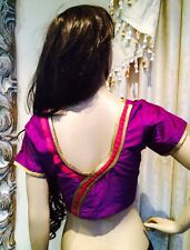 "44"" XL Silk Saree Blouse Indian Bollywood Designer Sari Top  Magenta Purple Gold"