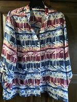 Womens Alfred Dunner Blouse Top Shirt Multicolor Long Sleeve V Neck Button SZ 18