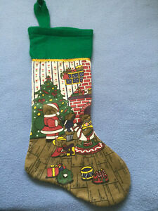 Christmas Stocking. Teddy bear family scene. Green and white.