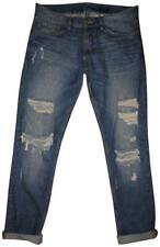 DIVIDED By H&M Blue Faded Worn Distressed Ripped Slim Straight Midrise Jeans 30