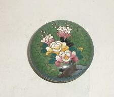 GREEN INABA FLORAL DESIGN CLOISONNE ENAMEL BOX SIGNED