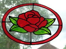 Ovale Rose en Verre Coloré Effet Fenêtre Se Cramponne