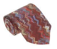 Missoni U1531 Red/Blue Flame Stitch 100% Silk Tie