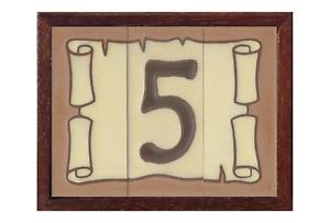 Large 15cm x 7.5cm Scroll Design Ceramic Spanish House Numbers & Metal Frames
