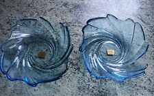 More details for 2 arcoroc france pale blue swirl glass dishes/bowls