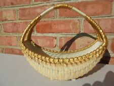Antique Royal Worcester Porcelain Blush Basketweave Basket Vase w Gold