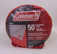 """COLEMAN ALPINE 50 DEGREE SLEEPING BAG, RED Fits Up To 5' 11"""" Tall"""