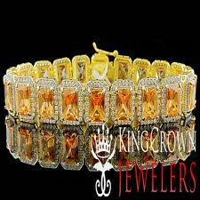 REAL YELLOW GOLD ON SILVER MENS LADIES LAB DIAMOND BROWN SMOKEY TOPAZ BRACELET