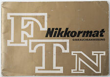 Bedienungsanleitung Nikon Nikkormat FTN ftn F-T-N Anleitung