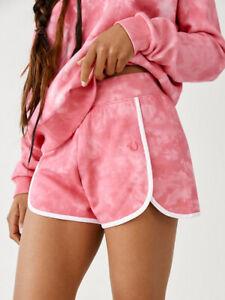 New Womens True Religion Fleece 203066 Tie Dye Pink Gym Styles Shorts £65 Sale!