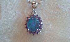 """amethyst & blue fire opal pendent 3/4"""" white gold filled chain 17"""" L new"""
