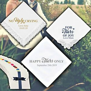No Ugly Crying Personalised Handkerchief Wedding Gift Mum Dad Favour Bridesmaid
