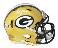 Brett Favre Signed Green Bay Packers Chrome Riddell Speed Mini Helmet-FAVRE HOLO