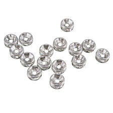 1 Bag 20pcs 316 Stainless Steel Flat Round Rhinestone Beads Spacers Crystal