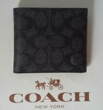 NWT COACH MEN'S CHARCOAL SIGNATURE COATED CANVAS DOUBLE BILFOLD WALLET 74934