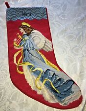 """Lovely Lands' End Needlepoint Christmas Stocking Blue Angel """"Mimi"""" Wool"""