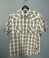 Patagonia Mens Shirt Size XL Three Trees Brown White Blue