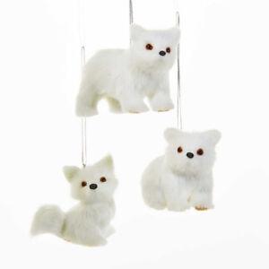 Plush White Polar Bears & Fox Ornament