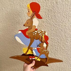 Märchen-Holzbild ALT 1950er 43cm Mertens-Kunst SCHAUFENSTER Figur Deko Vintage
