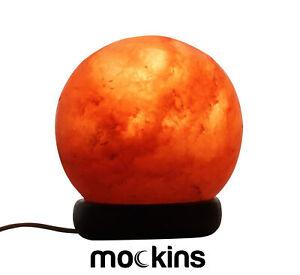 Mockins Natural Himalayan Salt Sphere Lamp with Beautiful Wood Base