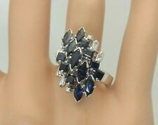 Vintage 14K White Gold Blue Sapphire and Diamond Ring 3.30 CT