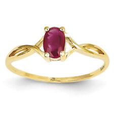 Anillos de joyería con gemas Solitario de oro amarillo rubí