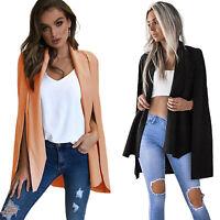 US Women Long Trench Poncho Cape Coat Jacket Blazer Suit Shawl Top Cloak Outwear