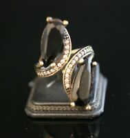 Turkish Handmade Jewelry Sterling Silver 925 Rose Plated Onyx Ring Adjustable