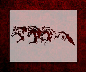 "3 Horses Running Horse Pony 11"" x 8.5"" Custom Stencil FAST FREE SHIPPING (344)"