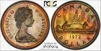 "1973 CANADA $1 DOLLAR ""R.C.M.P."" PCGS SP66 COLOR TONED COIN IN HIGH GRADE"