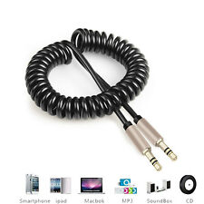 1m 3.5mm Stereo Jack AUX Cable Coiled Lead Male Audio Gold Plated