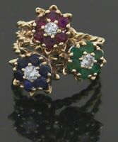 Heavy vintage 14K YG 3.36CT diamond ruby emerald sapphire flower ring size 9.25