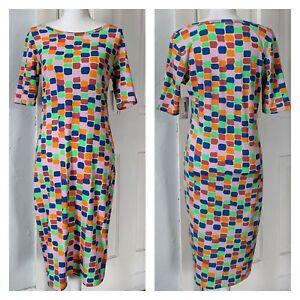 NEW LulaRoe Julia Dress Women's Medium Colorful Mod Look Midi Stretch NWT