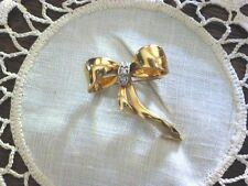 Vintage 14Kt Yellow Gold And Diamond Bow Pin, Original Owner, Ca. 1980's