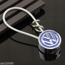 Metal Steel Wire Rope car Key Chain 2 side Logo KeyChain Key ring For Volkswagen