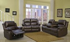 3 PC Bonded Leather Brown Reclining sofa set With One Drop Table