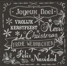 2 Serviettes en papier Texte Noël - Paper Napkins All Wishes