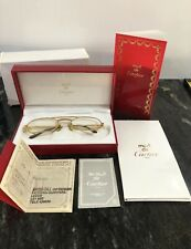 Mint Vintage Cartier Santos 18k Gold Plated Glasses 55-20 Boxed With Cert Sun