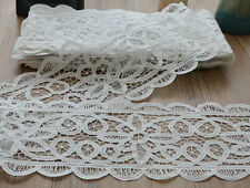 "10 Yards Vintage Victorian Battenburg Lace Trim Lot White 8"" wide"